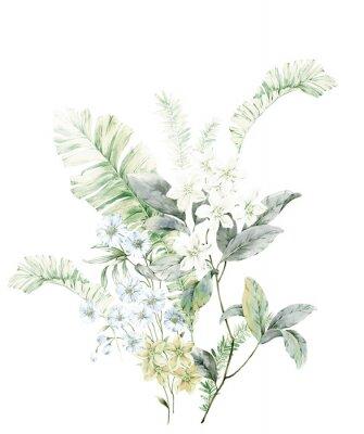 Плакат Watercolor flowers illustration