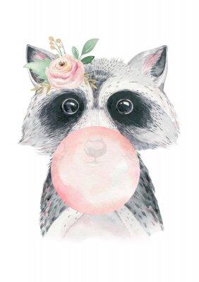 Плакат Watercolor forest cartoon isolated cute baby raccoon, animal with flowers. Nursery woodland illustration. Bohemian boho drawing for nursery poster, pattern
