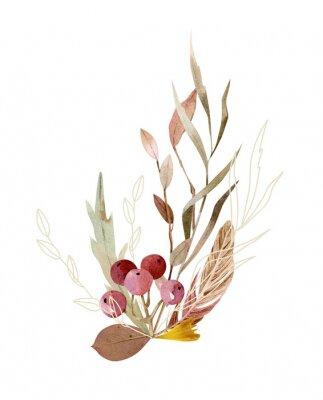 Плакат Watercolor hand painted composition - arrangement, bouquet. Soft gentle color palette.