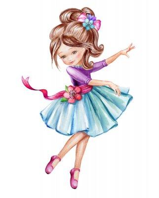 Плакат Акварель иллюстрации, милая маленькая балерина, молодая девушка в голубом платье, танцы ребенка, кукла, клип, изолированных на белом фоне
