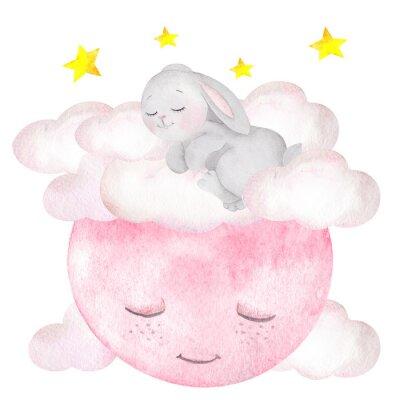 Плакат Акварельные иллюстрации с милый кролик, луна, звезды и облака