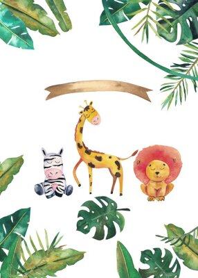 Плакат Watercolor invitation with wild animals and jungle leaves. Children hand-drawn illustration