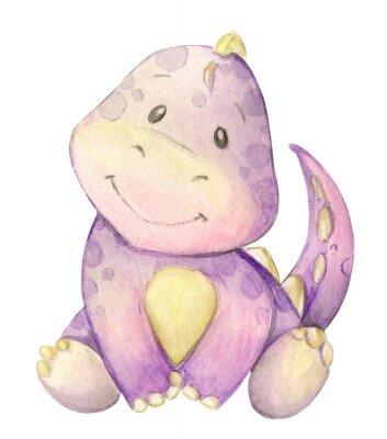 Плакат watercolor,  little dinosaur. pink. isolated