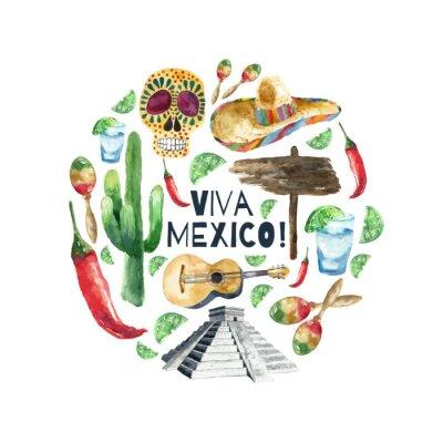Плакат Акварель Мексика иконы.