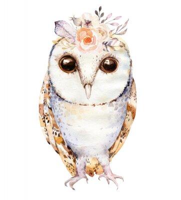 Плакат Акварель сова с цветами и пером. Рисованной изолированных совы иллюстрации с птицей в стиле boho. Дизайн для плакатов для печатных изданий.
