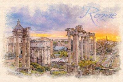 Плакат Акварельная живопись эффект иллюстрации рассвета над римского форума