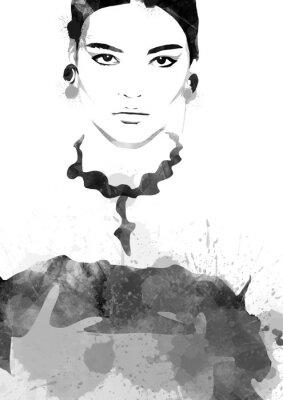 Плакат Watercolor painting fashion woman black and white