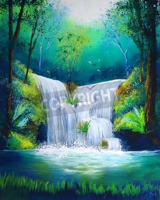 Плакат акварель водопада