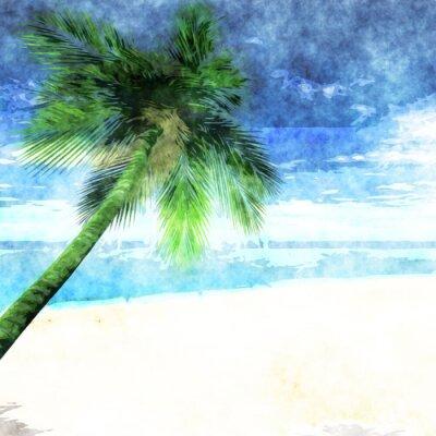 Плакат Акварели пальмы на пляже