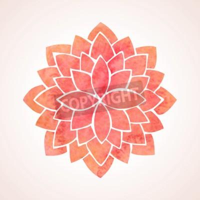 Плакат Акварель красный лотос Цветочный узор на белом фоне