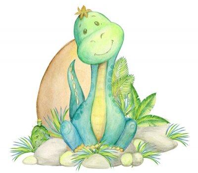 Плакат watercolor, seamless pattern. little dinosaur. isolated