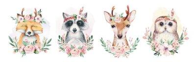 Плакат Watercolor set of forest cartoon isolated cute baby fox, deer, raccoon and owl animal with flowers. Nursery woodland illustration. Bohemian boho drawing for nursery poster, pattern