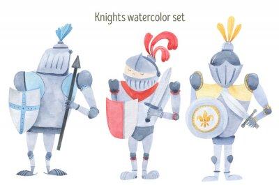 Плакат Watercolor set of knights swords, shields, armor