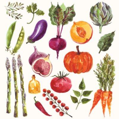 Плакат Акварельные Овощи и фрукты