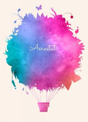 Плакат Акварель старинных горячей balloon.Celebration воздуха праздничный Backgroun