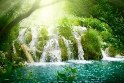 Плакат водопад в глубоком лесу