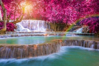 Плакат Водопад в тропических лесов (TAT Куанг Si Водопады в Луанг praba