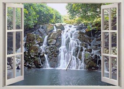 Плакат Вид Водопад из открытого окна