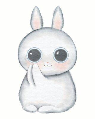 Плакат White kawaii cartoon cute little rabbit with big eyes isolated on white background. Watercolor hand drawn illustration