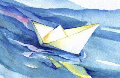 Плакат Белые паруса бумаги корабль на волнах. Акварель корабля и морской воды.