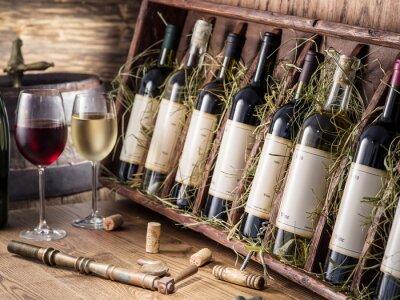 Плакат Винные бутылки на деревянной полке.