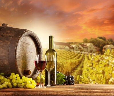 Плакат Вино Натюрморт с виноградника на фоновый