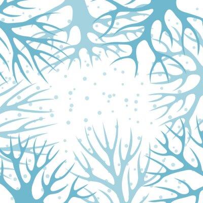 Плакат Зимний фон с абстрактными дизайн стилизованные деревья