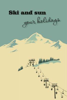 Плакат Зимний фон. Горный пейзаж с подъемником