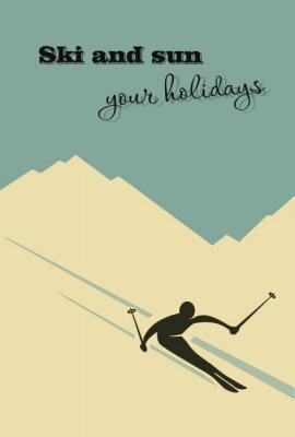 Плакат Зимний фон. Лыжник скользит с горы.