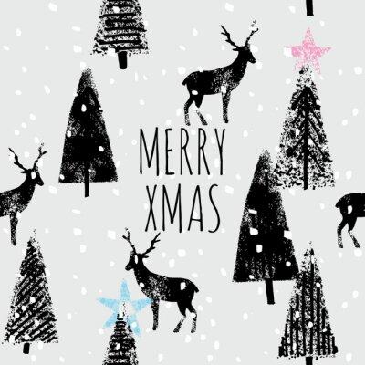 Плакат Зимний лес рисованной модный образец
