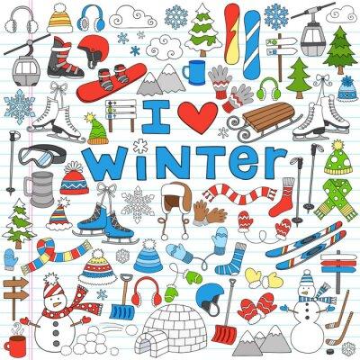 Плакат Зимние развлечения Снова в школу Notebook Рисунки-векторные иллюстрации