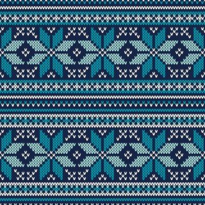 Плакат Зимний отдых Бесшовные вязаный узор. Fair Isle свитер Desig