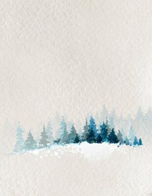Плакат Зимний пейзаж с еловым лесом и оленей