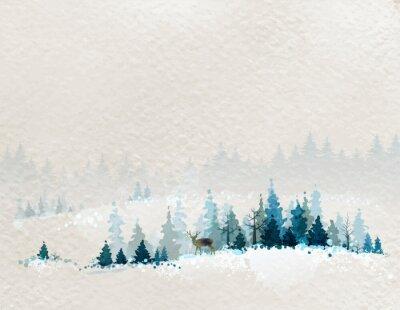 Плакат Зимний пейзаж с еловыми лесами и оленей