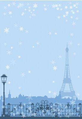 Плакат зима Париж фон
