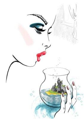 Плакат Woman and Island in Glass