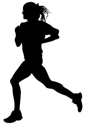 Плакат Женщина спортсменов на соревнованиях по бегу на белом фоне