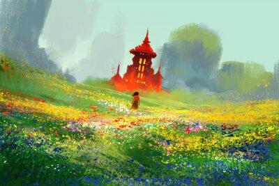 Плакат Женщина в цветочные поля рядом с красной замок и горы, иллюстрации картины
