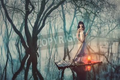 Плакат Женщина на плоту с фонарем, плавающей на пруд в туманного леса. Сказка женщина в длинном платье.