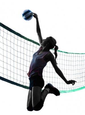 Плакат женщина волейболисты изолированные силуэт