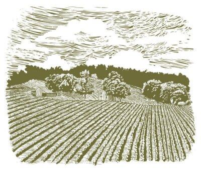 Плакат Woodcut Farm на шоссе 60