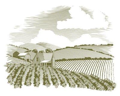 Плакат Гравюра на дереве Сельский Дом Фермера