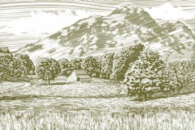 Плакат Woodcut стиле иллюстрация фермы и сарай с горы на заднем плане.