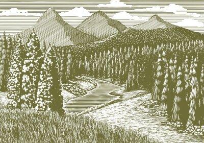 Плакат Ксилография стиль иллюстрация горный пейзаж с рекой, протекающей через него.