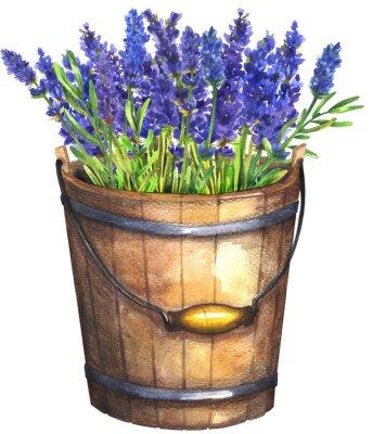 Плакат Wooden bucket with lavender