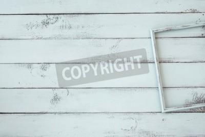 Плакат Рамки для фотографий деревянные на мятой потертый шик фоне