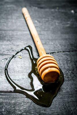 Плакат Деревянная ложка сладкого натурального меда.