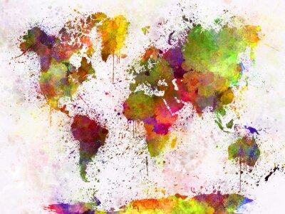 Плакат Карта мира в акварели