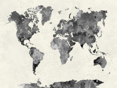 Плакат Карта мира в сером акварели