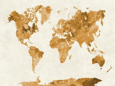 Плакат Карта мира в акварельной оранжевый